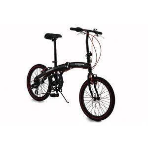 WACHSEN(ヴァクセン) 20インチアルミ折畳自転車 ブラック&レッド 自転車用アクセサリー4種セット