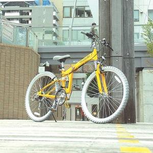TRAILER(トレイラー) 26インチ 折り畳み自転車 MTR-2618-YL イエロー + ブラケット式ワイヤーロック+LED白色ライト (マウンテンバイク)