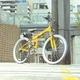 TRAILER(トレイラー) 26インチ 折りたたみマウンテンバイク 18段変速付き イエロー+ブラケット式ワイヤーロック+LED白色ライト 写真5