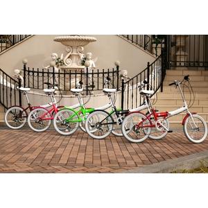 HEAVEN's(ヘブンズ) 20インチ カラフル折り畳み自転車 BGC-106-BR 6段変速 チョコブラウン + ブラケット式ワイヤーロック+LED白色ライト