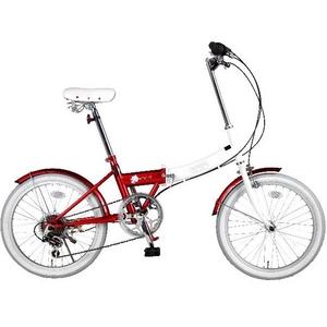 HEAVEN's(ヘブンズ) 20インチ カラフル折り畳み自転車 BGC-106-RD 6段変速 グロスレッド + ブラケット式ワイヤーロック+LED白色ライト