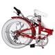 HEAVEN's(ヘブンズ) 20インチ カラフル折り畳み自転車 BGC-106-RD 6段変速 グロスレッド + ブラケット式ワイヤーロック+LED白色ライト - 縮小画像3
