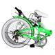 HEAVEN's(ヘブンズ) 20インチ カラフル折り畳み自転車 BGC-106-GR 6段変速 グリーン + ブラケット式ワイヤーロック+LED白色ライト - 縮小画像3