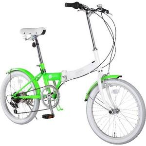 HEAVEN's(ヘブンズ) 20インチ カラフル折り畳み自転車 BGC-106-GR 6段変速 グリーン + ブラケット式ワイヤーロック+LED白色ライト