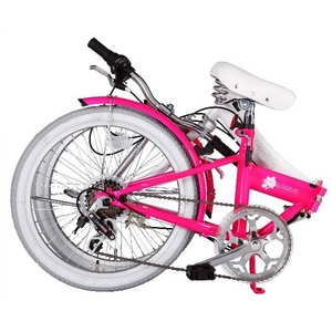 HEAVEN's(ヘブンズ) 20インチ カラフル折り畳み自転車 BGC-106-PK 6段変速 ピンク + ブラケット式ワイヤーロック+LED白色ライト