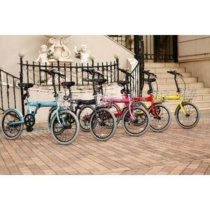 HEAVEN's(ヘブンズ) 20インチ カラフル折り畳み自転車 BGC-K206-BL カギ/カゴ/ライト付 6段変速 ブルー