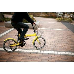 20インチカラフル折りたたみ自転車  カギ/カゴ/ライト付 6段変速 HEAVEN's イエロー