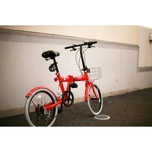 20インチカラフル折りたたみ自転車  カギ/カゴ/ライト付 6段変速 HEAVEN's レッド