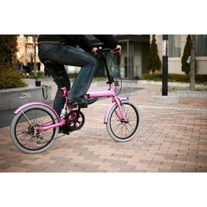 20インチカラフル折りたたみ自転車  カギ/カゴ/ライト付 6段変速 HEAVEN's ピンク