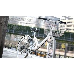 WACHSEN(ヴァクセン) 折り畳み自転車 Wolke(ヴォルケ) 26インチ 6段変速 サスペンション ホワイト(シティサイクル)BC-S626 - 拡大画像