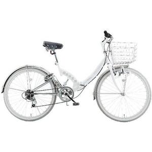 【送料無料】 WACHSEN(ヴァクセン) 折り畳み自転車 Wolke(ヴォルケ) 26インチ 6段変速 サスペンション ホワイト(シティサイクル)BC-S626