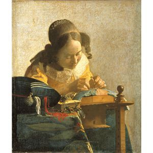 世界の名画シリーズ、最高級プリハード複製画 ヨハネス・フェルメール作 「レースを編む女」