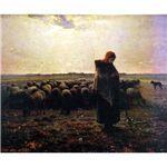 世界の名画シリーズ、プリハード複製画 ジャン・フランソワ・ミレー作 「羊飼いの少女」