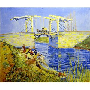 世界の名画シリーズ、プリハード複製画 ヴィンセント・ヴァン・ゴッホ作 「アルルのはね橋(アングロワ橋)」 - 拡大画像