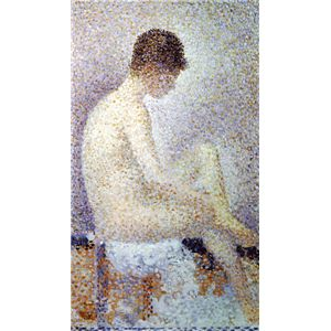世界の名画シリーズ、最高級プリハード複製画 ジョルジュ・スーラ作 「ポーズする女」 - 拡大画像