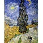 世界の名画シリーズ、最高級プリハード複製画 ヴィンセント・ヴァン・ゴッホ作 「糸杉と星の道」