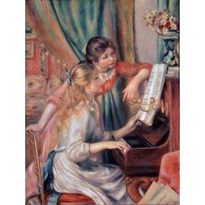 世界の名画シリーズ、最高級プリハード複製画 ピエール・オーギュスト・ルノアール作 「ピアノに寄る娘達」 - 拡大画像