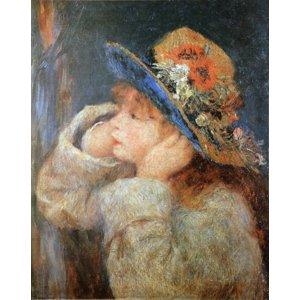 世界の名画シリーズ、最高級プリハード複製画 ピエール・オーギュスト・ルノアール作 「野の花の帽子をかぶった少女」 - 拡大画像
