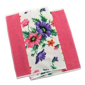 FEILER(フェイラー) タオル POPPIES WHITE PINK GUEST TOWEL 37/80