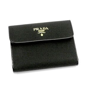 PRADA(プラダ) Wホック財布 TESSUTO VERNICE 1M0523 TES VERNI ブラック