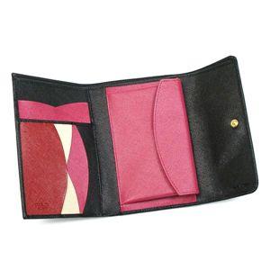 Prada(プラダ) 三つ折り財布(小銭入れ付) SAFFIANO MULTICOLOR 1M0510 F0002 ブラック/レッド画像2