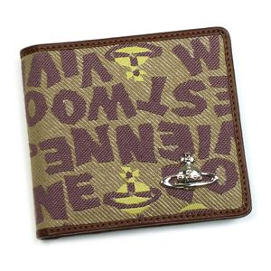 Vivienne Westwood(ヴィヴィアンウエストウッド) 二つ折り財布(小銭入れ付) STONEAGE 730 カーキー