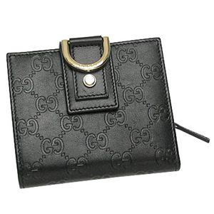 Gucci(グッチ) Wホック財布 NEW ABBEY 154255 WALLET MEDIUM-ZIP 1000 ブラック/ゴールド