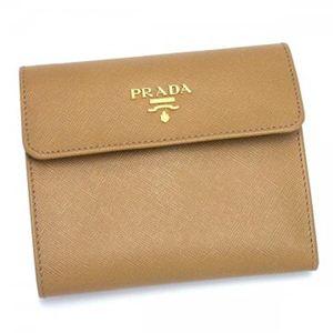 Prada(プラダ) 三つ折り財布(小銭入れ付) SAFFIANO METAL ORO 1M0170 ブラウン【送料無料】