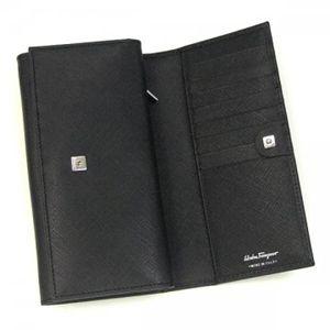 Ferragamo(フェラガモ) 長財布 GANCINI ICONA VITELL 228219 360005 ブラック H10×W18×D3の写真2