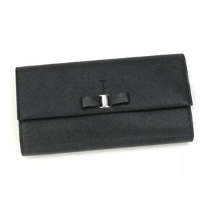 Ferragamo(フェラガモ) 長財布 VARA ICONA 22A953 434077 ブラック H10×W18.5×D2.5の写真1