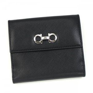 Ferragamo(フェラガモ) Wホック財布 GANCINI ICONA VITELL 22A960 433597 ブラック H10.5×W12×D2.5の写真1