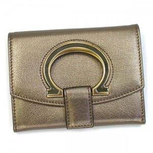 Ferragamo(フェラガモ) 二つ折り財布(小銭入れ付) GANCIO STYLISH 22B018 439038 シルバー H10xW13xD2.5
