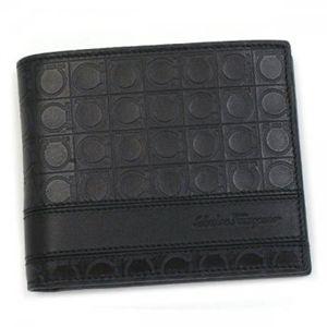 Ferragamo(フェラガモ) 二つ折り財布(小銭入れ付) MENS SLG GAMMA 668734 433496 ブラック H9.5×W12×D2