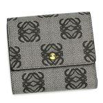 Loewe(ロエベ) Wホック財布 ANAGRAM COATED CANVA 168.80.956 1100 ブラック (H9.5×W10×D2)