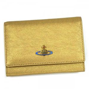 Vivienne Westwood(ヴィヴィアンウエストウッド) 二つ折り財布(小銭入れ付) METAL 746V ゴールド (H9.5×W13.5×D2.5)