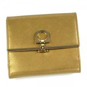 Ferragamo(フェラガモ) Wホック財布 GANCINI ICONA VITELL 224639 455682 ゴールド (H10×W12×D4)