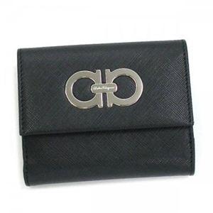 Ferragamo(フェラガモ) Wホック財布 GANCINI ICONA VITELL 227122 335293 ブラック