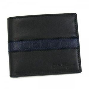 Ferragamo(フェラガモ) 二つ折り財布(小銭入れ付) MENS SLG FORM 668928 462845 ブラック/ブルー