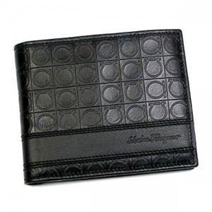 Ferragamo(フェラガモ) 二つ折り財布(小銭入れ付) MENS SLG GAMMA 668734 433496 ブラック