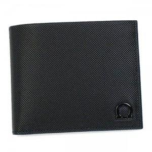 Ferragamo(フェラガモ) 二つ折り財布(小銭入れ付) MENS SLG GANCIO ONE 668669 476815 ブラック - 拡大画像