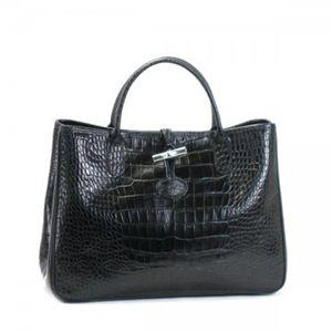 Longchamp(ロンシャン) ハンドバッグ ROSEAU STYLE CROCO 1686 1 ブラック - 拡大画像