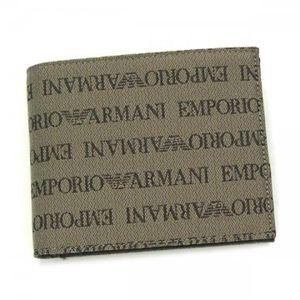 EMPORIO ARMANI(エンポリオアルマーニ) 二つ折り財布(小銭入れ付) LINEA TESSUTO LOGA YEM122 87339 ベージュ