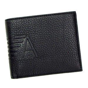 EMPORIO ARMANI(エンポリオアルマーニ) 二つ折り財布(小銭入れ付) LINEA ANGAR YEM122 80001 ブラック