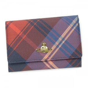 Vivienne Westwood(ヴィヴィアンウエストウッド) 二つ折り財布(小銭入れ付) DERBY 746V ブルー/レッド - 拡大画像