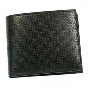 Ferragamo(フェラガモ) 二つ折り財布(小銭入れ付) MENS SLG -MINIGANCIN 669148 498921 NERO