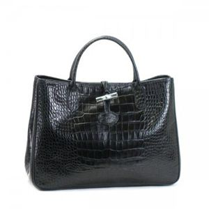 Longchamp(ロンシャン) ハンドバッグ ROSEAU STYLE CROCO 1686 1 BLACK
