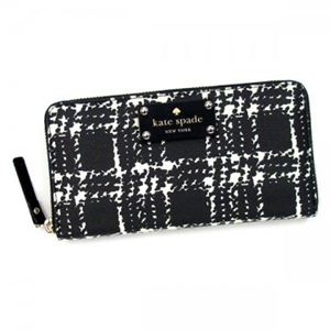 KATE SPADE(ケイトスペード) 長財布 BELLEVILLE PLAID PWRU2960 17 BLACK/CREAM