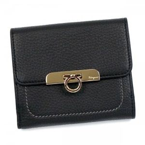 Ferragamo(フェラガモ) 二つ折り財布(小銭入れ付) GANCIO TIMELESS 22B601 493220 NERO - 拡大画像