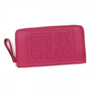 SEE BY CHLOE(シーバイクロエ) 長財布 ZIP FILE LEATHER 9P7155 544 RASPBERRY - 拡大画像