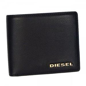 DIESEL(ディーゼル) 二つ折り財布(小銭入れ付) X01966 H4486 BLACK/ANTIQUE BRASS